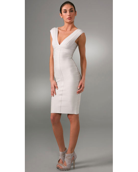Herve Leger V Neck Bandage Dress New