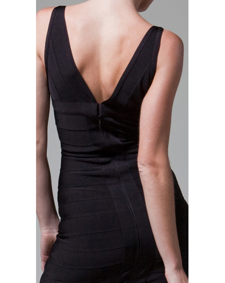 Herve Leger V Neck Dress Black