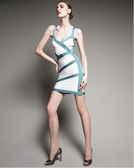 Herve Leger White And Blue Dress