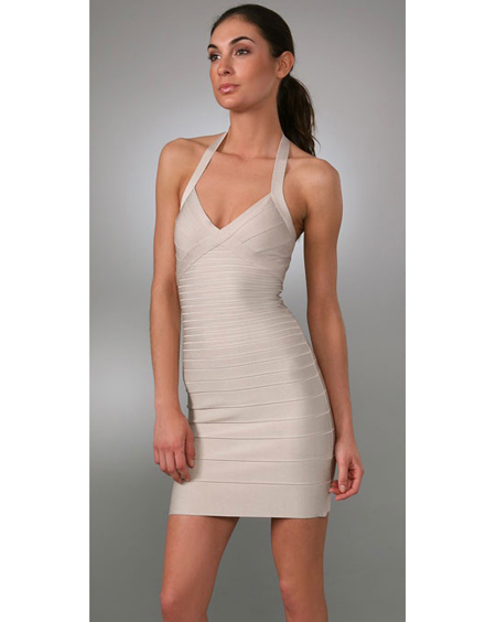 Herve Leger White Bandage Dress