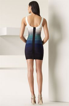 Herve Leger White Blue Bandage Dress
