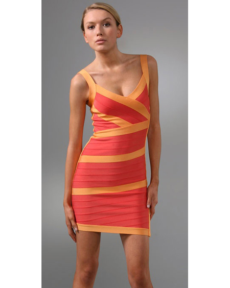 Herve Leger Yellow Dress