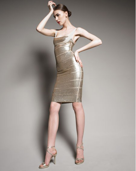 Herve Leger Silver Dress