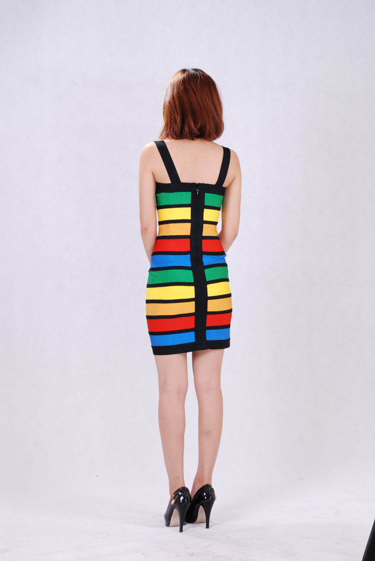 Herve Leger Halter Colorblocked Bandage Dress