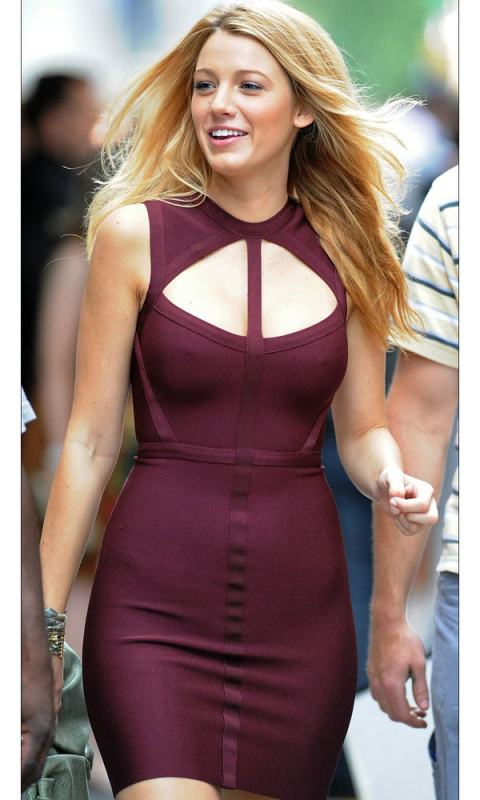 Blake Lively Herve Leger Purple Dress