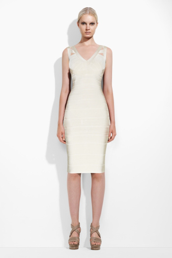 Herve Leger A Line V Neck White Dress