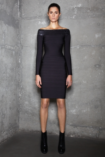 Herve Leger Black Long Sleeve Dress
