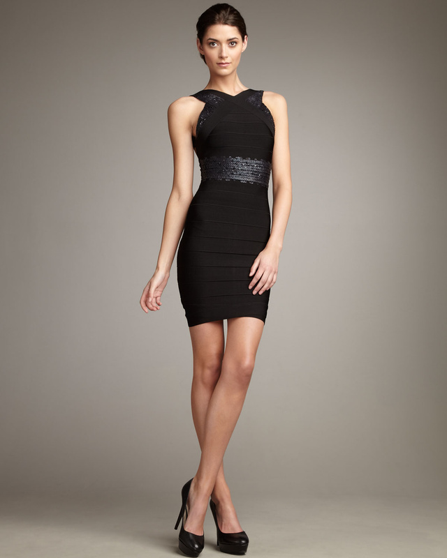 Herve Leger Black Sequined Halter Bandage Dress