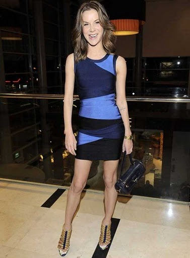 Herve Leger Blue Color Block Bandage Dress