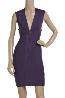 Herve Leger Deep V Neck Purple Dress