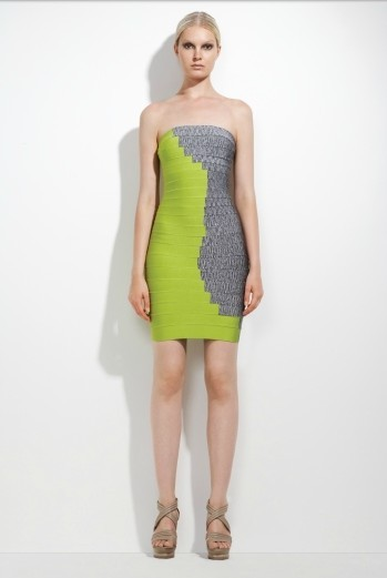 Herve Leger Green And Grey Color Block Strapless Dress