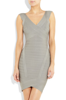 Herve Leger Grey V Neck Halter Bandage Dress