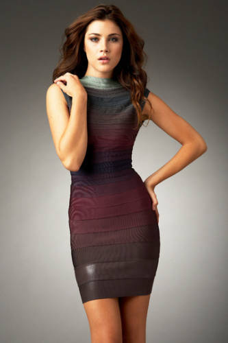 Herve Leger Halter Colorblocked dress