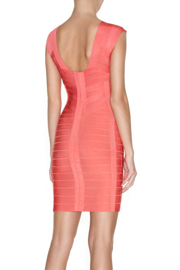 Herve Leger Halter Pink Bandage Dress