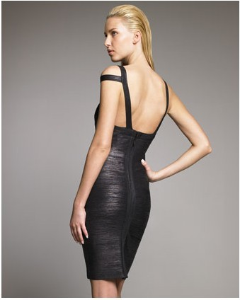 Herve Leger New Fashion Style Halter Black Dress