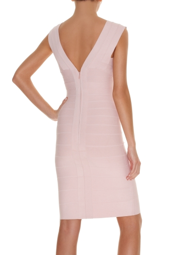 Herve Leger New Style Pink V Neck Bandage Dress
