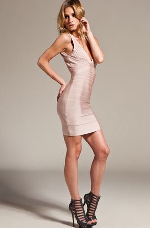 Herve Leger New Style White V Neck Bandage Dress