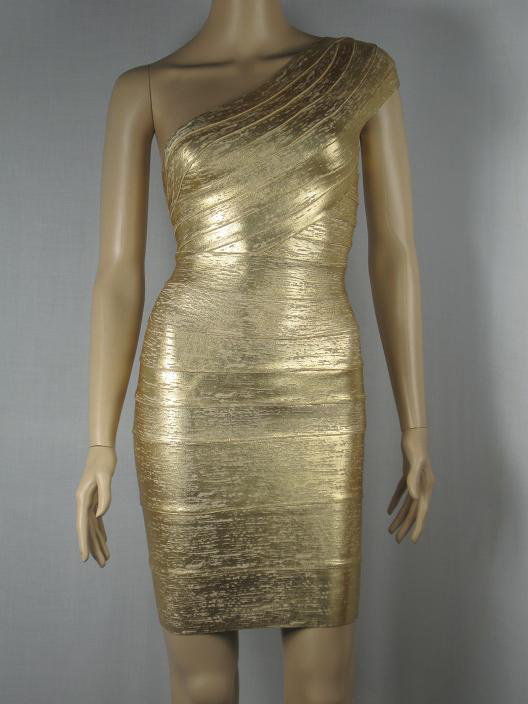 Herve Leger One Shoulder Gold Dress