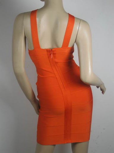 Herve Leger Orange Strapless Dress