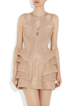 Herve Leger Pink Hollowed Bandage Dress