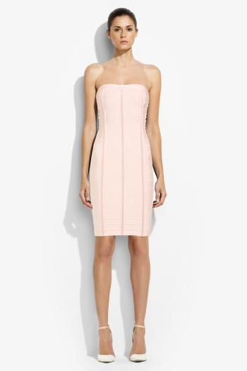 Herve Leger Pink Strapless Halter Bandage Dress
