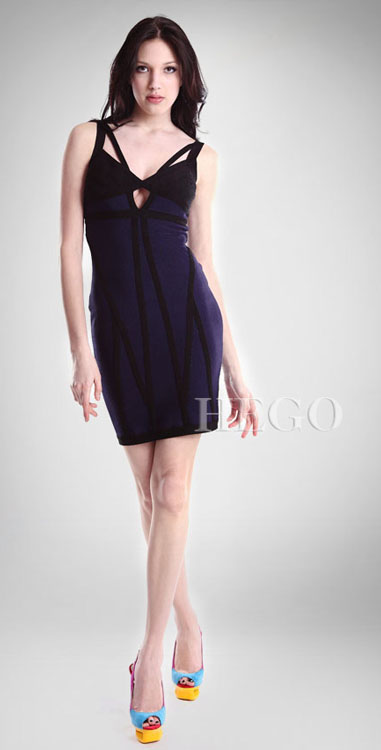 Herve Leger Purple And Black V Neck Bandage Dress
