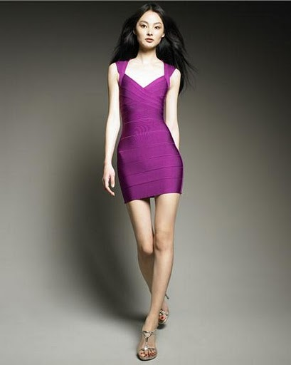 Herve Leger Purple V Neck Halter Bandage Dress