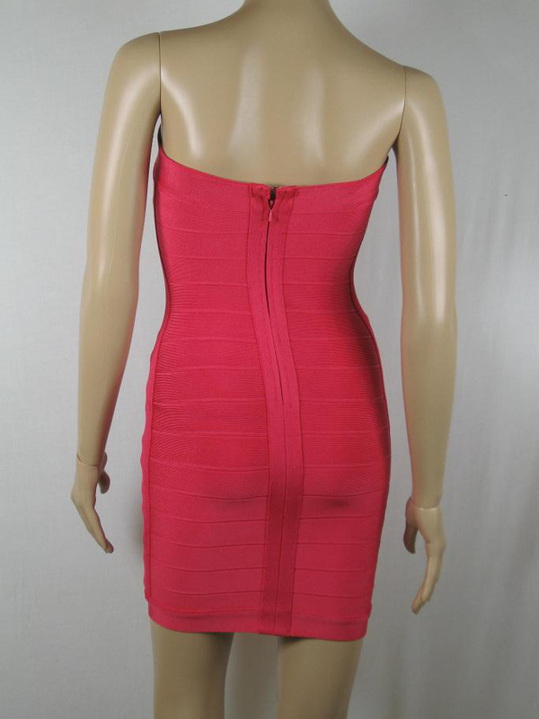 Herve Leger Red And Purple Color Block Dress
