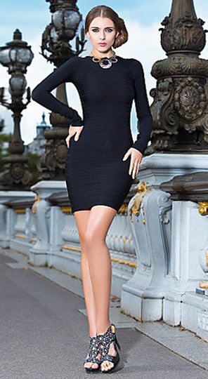 Herve Leger Long Sleeve Dress