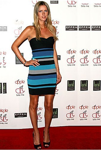 Herve Leger Strapless Color Block Bandage Dress