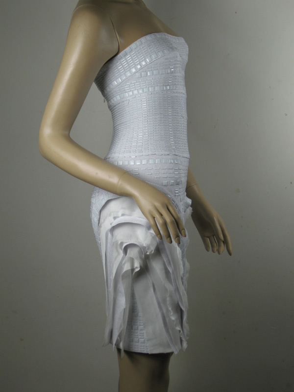 Herve Leger Strapless White Bandage Dress
