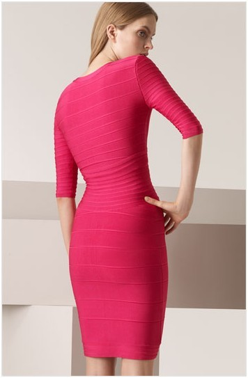 Herve Leger V Neck A Line Red Dress