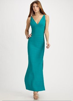 Herve Leger V Neck Charlotte Signature Long Dress Blue