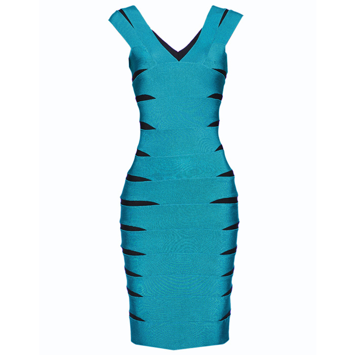 Herve Leger V Neck Color Block Green Bandage Dress