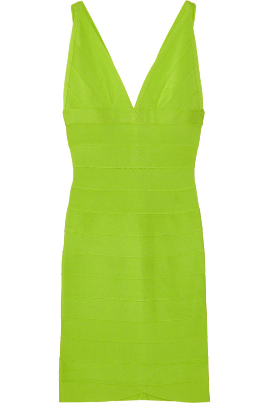 Herve Leger V Neck Green Bandage Dress