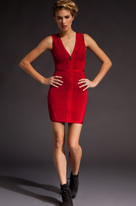 Herve Leger V Neck Red Dress