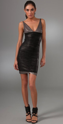 Herve Leger V Neck Silver And Black Bandage Dress