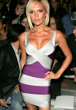 Herve Leger Victoria Beckham Silver Purple Bandage Dress