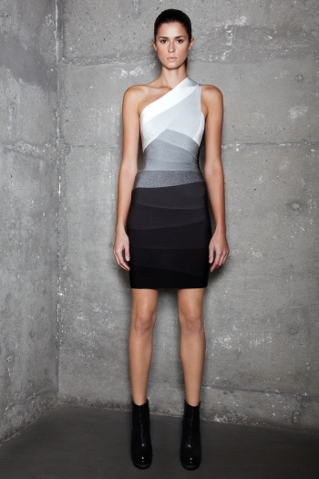 Herve Leger White And Grey Color Block One Shoulder Dress