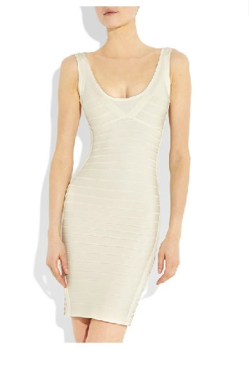Herve Leger White Halter Dress
