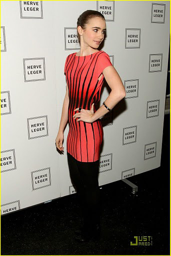 Lily Collins Herve Leger Halter Colorblocked Dress