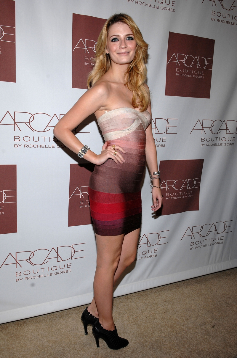 Mischa Barton Herve Leger Colorblocked Strapless Bandage Dress