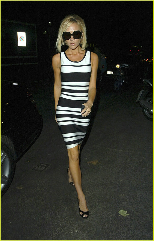 Victoria Beckham Herve Leger Black And White Dress