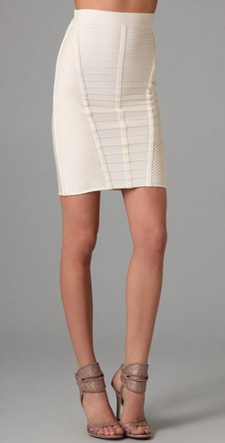 Herve Leger Allover Fringe Skirt