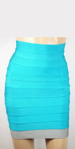 Herve Leger Bandage Back-Zip Skirts With Aqua