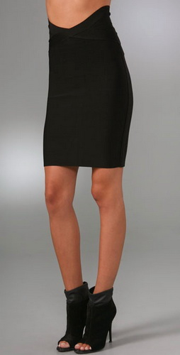 Herve Leger Black Layered Bandage Skirts