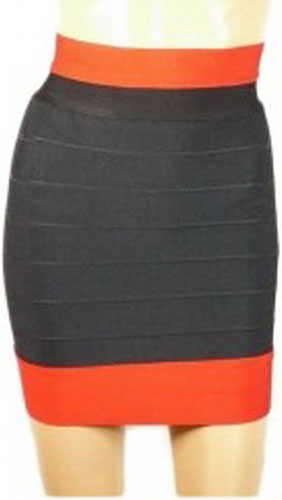 Herve Leger Black Skirt With Orange Fringe