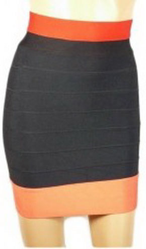 Herve Leger Black Skirt With Orange Waist