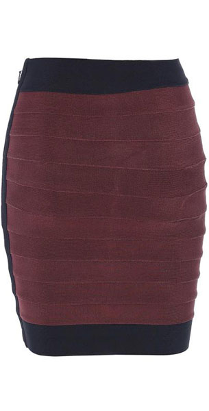 Herve Leger Bqueen Short Skirt Brown