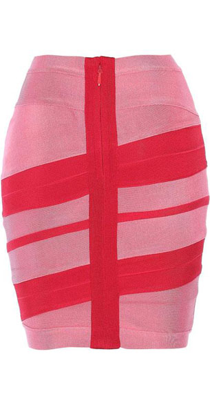 Herve Leger Bqueen Short Skirt Pink And Red